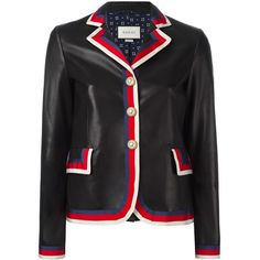 Gucci Sylvie web trim leather jacket (14,985 SAR) ❤ liked on Polyvore featuring outerwear, jackets, black, 100 leather jacket, real leather jackets, striped leather jacket, embroidered jacket and gucci jacket