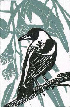"salonduthe: ""The Magpie - Australian bird of the year 2017 (source) "" Linocut Prints, Art Prints, Block Prints, Illustrator, Linoprint, Australian Birds, Arte Popular, Wood Engraving, Woodblock Print"
