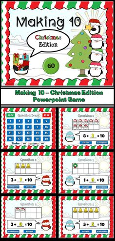 Penguins and Christmas! This fun game is like my other Making 10 Powerpoint games. Students are given a number in a tens frame and they must figure out what number can be added to it to make 10. These tens frames uses pictures of Santa Claus, bells, and Christmas wreaths.