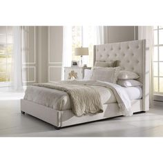 All-in-1 King-Size Contemporary Shelter Headboard and Bed Frame in Cream (Ivory)