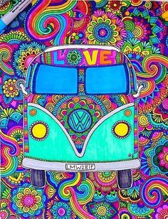 Find images and videos about art, zentangle and daniela hoyos on We Heart It - the app to get lost in what you love. Happy Hippie, Hippie Love, Art Doodle, Hippy Art, Estilo Hippie, Dibujos Cute, Volkswagen Bus, Illustration, Psychedelic Art