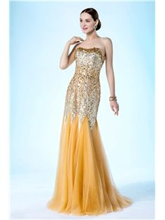 Luxurious Trumpet/Mermaid Strapless Sequins And Beading Floor Length Evening/Prom Dress