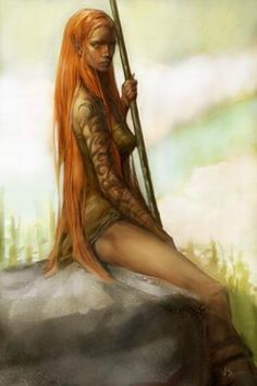 Female elf or fey. Druid, sorceress or the like. It has a 'nature' feel to it.  The work of Concept Artist Justin Sweet