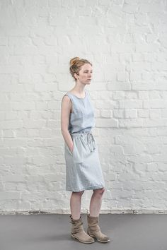 Linen blouse / linen top in bluish grey/ linen tank top