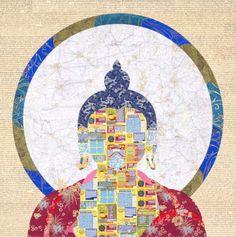 Instant Buddha Tenszing Rigdol  Instant Buddha 2011 Scratch card, scripture and silk brocade 122 x 122 cm (48 x 48 in)
