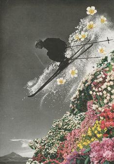 Spring Skiing - mixed media art print by Sarah Eisenlohr