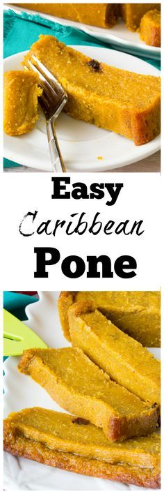 Caribbean Pone Caribbean Pone - A spicy, mouthwatering pudding like baked dessert made from cassava, sweet potato and pumpkin Trinidadian Recipes, Guyanese Recipes, Jamaican Dishes, Jamaican Recipes, Jamaican Cuisine, Carribean Food, Caribbean Recipes, Vegan Desserts, Dessert Recipes