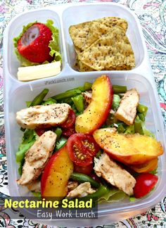 nectarine salad:  blanched green beans, chopped heirloom cherry tomatoes, chicken and sliced grilled nectarine with Rosemary Balsamic Vinaigrette.