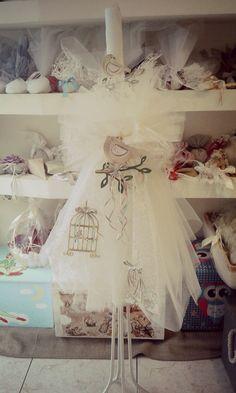 Ρομαντική λαμπάδα με κλουβάκια Christening, Greek, Gift Wrapping, Candles, Gifts, Wedding, Inspiration, Soaps, Gift Wrapping Paper