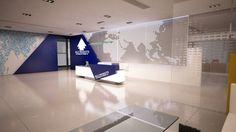 Company Reception Counter Design by Bahaa Eldien Mostafa, via Behance School Reception, Lobby Reception, Reception Areas, Office Entrance, Office Lobby, Reception Counter Design, Urban Decor, Medical Design, Lobby Design