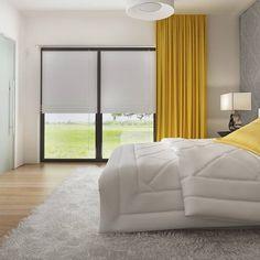 gotowy projekt domu Z378 – aranżacja wnętrz, Parterowy dom z garażem dwustanowiskowym. House Plans Mansion, Concept Home, Modern House Design, Bungalow, Curtains, How To Plan, Mansions, Furniture, Home Decor