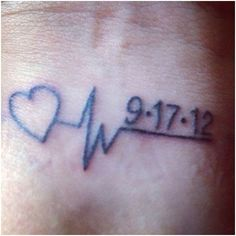 Babys Birth Date minus the heart and a longer heart wave