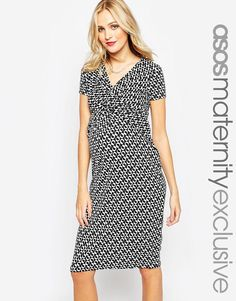 ASOS Maternity Bodycon Dress In Textured Geo With Cross Front