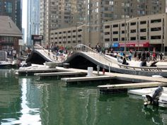 The Simcoe Wave Deck at the Harbourfront Centre in Toronto, Ontario - There are undulating paths of varying steepness here; kids especially like to walk (or slide! Sky Walk, Ontario, Paths, Toronto, Deck, Canada, Boat, Architecture, Centre