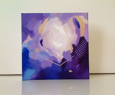 Original mini abstract painting on canvas by Magda Magier Title: Heart and soul. Size: 8 inches x 8 inches x 1.5 inch. 100% hand painted. Signed back and side of the painting. A Certificate of Authenticity is provided. Stretched canvas. Ready to hang, Edges are staple free and painted in