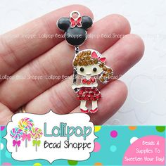 50mm Red MINNIE MOUSE GIRL w/ Balloon Rhinestone Pendant Girl Mouse Ears Chunky Necklace Pendant Bubblegum Beads Bubble Gum Beads RP48