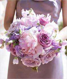 Another idea could be to bring in color variance with a little splash of pink throughout. It would give a gradient look to your bouquet and then you could accent it with pops of green (hypericum berries, bells of ireland, ammi visnaga, etc.) To pull in a splash of white, I LOVE sweet peas, freesia etc.)