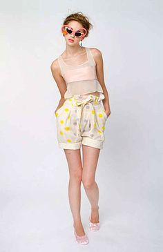 ZOETWITT: Silk and leather top with hand printed shorts