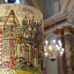 venice lampshade hand stitched by marna lunt