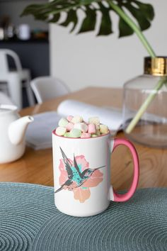 Unique colorful hummingbird and flower design. Hummingbird Flowers, Morning Coffee, White Ceramics, Flower Designs, Colorful, Tea, Mugs, Unique, Tableware