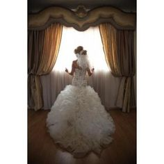 Custom-Made Dropped Waist Organza Chantilly Lace & Swarovski Ball Gown Wedding Dress $2,630