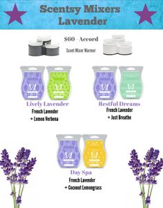 Scent mixers with lavender! All scents available in Spring/Summer 2017 catalog!! Go to my page and see all the great Scentsy Ideas!!