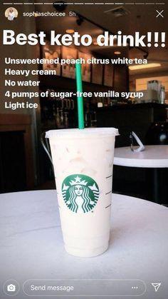 This really is the best Keto Starbucks drink Healthy Starbucks Drinks, Starbucks Secret Menu Drinks, Yummy Drinks, Healthy Drinks, Starbucks Hacks, Starbucks Tea, Healthy Treats, Sante Bio, How To Order Starbucks
