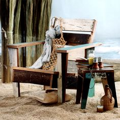 Cottage by the sea - reclaimed wood Adirondack chair & side table