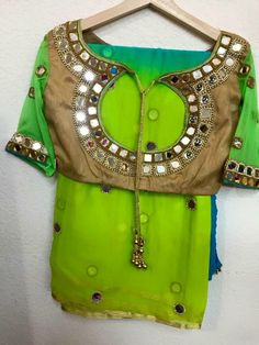 Green and Blue Dual Color Mirror Work Saree With Back Round Neck Blouse Blouse Back Neck Designs, Bridal Blouse Designs, Saree Blouse Designs, Blouse Patterns, Mirror Work Saree Blouse, Mirror Work Blouse Design, Women's Fashion, Fashion Blouses, Indian Fashion