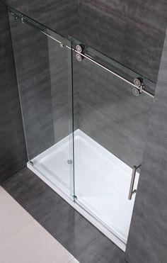 "SDR978 60"" Frameless Clear Glass Sliding Shower Door Top View"