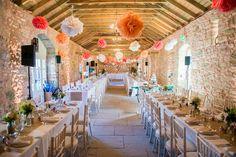 Candy coloured pom-poms at a spring wedding - Wedderburn Barns