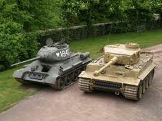 T34 & Tiger tank - interesting side by side, the Russian tank was better designed and shocked the Germans