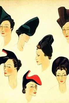 Elsa Schiaparelli - THESE ARE SKETCHES OF HER HATS - TELL ME ONE OF THEM DOESN'T LOOK LIKE A SHOE?