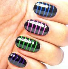 cubbiful: Skittle Stripes Nail Art