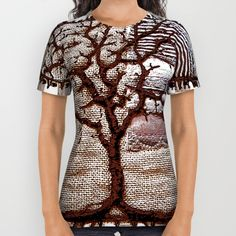Winter tree in mauve All Over Print Shirt by Bozena Wojtaszek   Society6