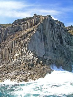 The Basalt cliffs Los Órganos on the northern coast of La Gomera, one of the seven main islands of Spain's Canary Islands. The basalt pillars look similar to organ pipes, and are the remains of vast lava masses of a once powerful volcano. The slender cliffs rise up out of the sea to a height of 800m.