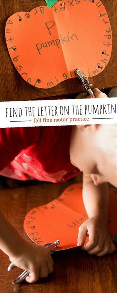 Find the letter on the pumpkin - fine motor practice for fall and Halloween