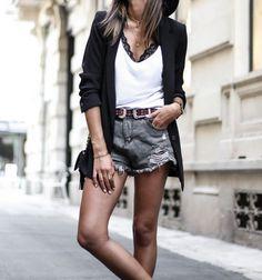 JUNESIXTYFIVE - Blazer short en jean dentelle ceinture clous look tendance automne 2016