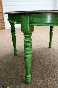 Annie Sloan chalk painted table again, distressed Antibes green with dark wax and a refinished table top