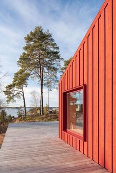 Photo 1 of 13 in A Tiny Cabin in Rural Sweden Pops With Red Pinewood from A Tiny Cabin in Rural Sweden Pops With Red Plywood - Dwell Plywood House, Red Houses, Barn Houses, Wood Facade, Wood Siding, Compact House, Wood Architecture, Swedish House, Building A House