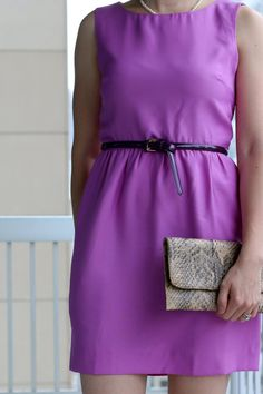 FashionablyEmployed.com | Purple dress and belt with sandals for a summer baby shower style | Working mom blog for working moms long on ambition and short on time! Career, family, style and self... having it all, mostly.