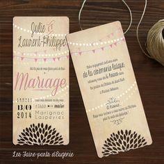Faire-part mariage rétro - fanions roses