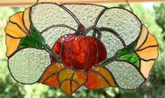 Handcrafted Stained Glass Panel - Fall Harvest - Thanksgiving Pumpkin - Autumn Home Decoration