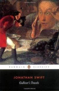As viagens de Gulliver: A narrativa inicia-se com o naufrágio do navio onde Gulliver seguia. Após o naufrágio ele foi arrastado para uma ilha chamada Lilliput. Os habitantes desta ilha, que eram extremamente pequenos, estavam constantemente em guerra por futilidades. Foi através dos lilliputianos que Swift demonstrou a realidade inglesa e francesa da época.