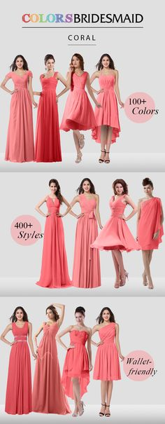 Coral bridesmaid dresses are all custom made to flatter your figure and $69 up.