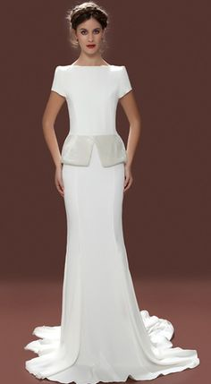 Wedding peplum!  Lara Hannah London – Vintage inspired wedding dresses, beaded wedding dresses, lace wedding dresses, designer wedding dresses