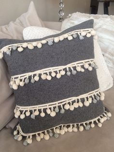 Pottery Barn Grey Ivory Silver Neutral Pom Pom Stripes Pillow Cover Christmas