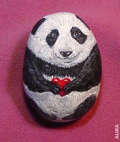 Painted Panda Bear rock