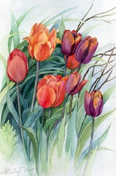 House Remodeling Is Residence Improvement Anne Marie Patry-Belluteau Art Art Floral, Floral Drawing, Tulip Painting, Silk Painting, Watercolour Painting, Painting & Drawing, Watercolors, Watercolor Cards, Watercolor Flowers
