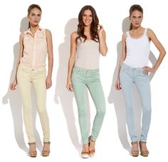 Sand, Sea, and Sky Skinny Jeans Sand and Blue Pastel Jeans, Jeans And Wedges, Colored Skinny Jeans, Cute Jeans, Coral, Workout Wear, Style Me, Stylish, Womens Fashion